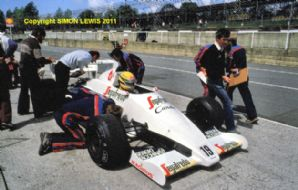 Toleman TG184 Hart Turbo. Ayrton Senna Brands Test 1984